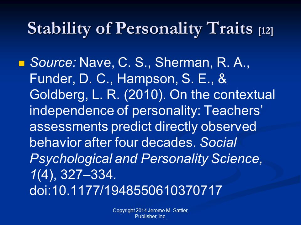 Stability of Personality Traits [12]